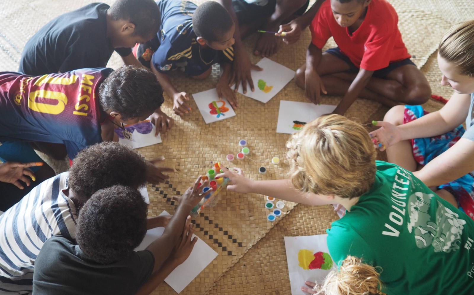 Projects Abroad volunteers play educational games with children from a nursery school rather than an orphanage abroad.